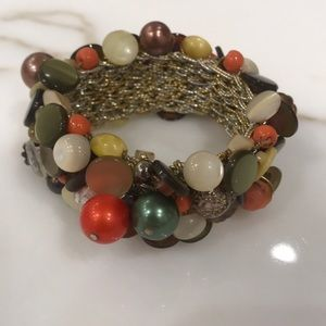 Gorgeous Vintage Button/Bead Crotched Bracelet!
